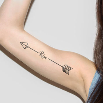 Arrow - Rise - Temporary Tattoo (Set of 2)