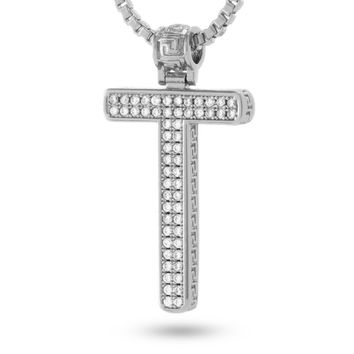 """White Gold Letter """"T"""" Necklace"""
