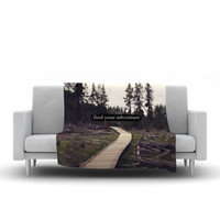 "Leah Flores ""Find Your Adventure"" Nature Quote Fleece Throw Blanket"