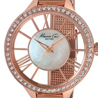 Women's Kenneth Cole New York Crystal Bezel Transparent Dial Watch, 40mm