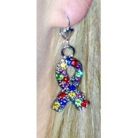 Autism Awareness Crystal Silver Ribbon Earrings