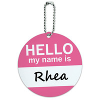 Rhea Hello My Name Is Round ID Card Luggage Tag
