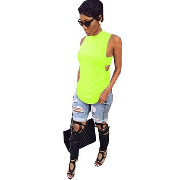 Neon Green Blouse High Neck Blouse Red Side Tab Top Summer Style Fashion Women Cotton Blouse Open Back Top Women Sleeveless = 5613045569