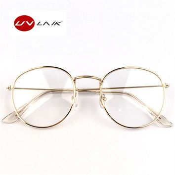 UVLAIK Fashion Metal Glasses Frame Men Women Plain Glass Spectacles Vintage Safety Goggles Female Transparent Eyeglasses Frames
