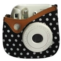 Colorful Dots Spot Camera PU Leather Case Bag For Fujifilm Instax mini 8 + Free Shoulder Strap - Black
