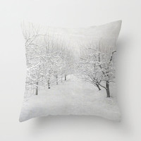 Pillow Cover, Winter Apple Trees Pillow, White Gray Grey Throw Pillow, Winter Tree Photo Pillow, Living room decor, Bedroom 16x16 18x18
