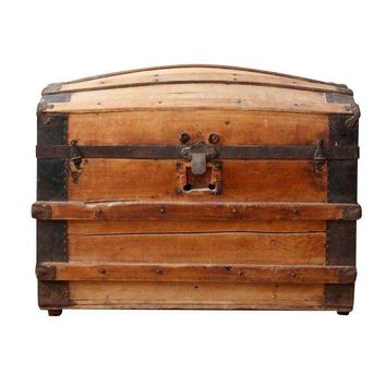Pre-owned Antique Barrel Stave Wood Trunk