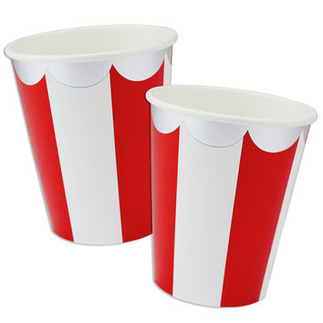 Red Scallop Stripe Cups
