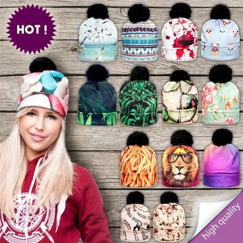 LMF9GW 2016 New 3D Print Hats for Women Autumn and Winter Cap Multi Colors Warm Hat Fashion Lady Hats Ball Pom Skully Beanies PY212