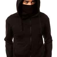 The Jiro Zip Up Ninja Hoodie in Black