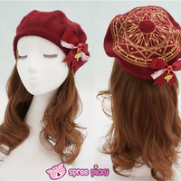6 Colors Card Captor Sakura Magic Circle Beret Cap with Little Bow SP151781 from SpreePicky