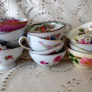 Lot of Mismatched Floral Teacups.  Set of 12 Vintage Teacups.  Bridal Shower Tea Party.  Alice in Wonderland Style.