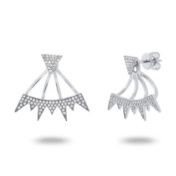 0.44ct 14k White Gold Diamond Pave Ear Jacket Earring with Studs