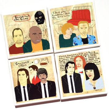 Pulp Fiction Art Print Poster Ceramic Tile Drink Coasters – Set of 4