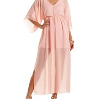 Kimono Sleeve Chiffon Maxi Dress by Charlotte Russe - Peach
