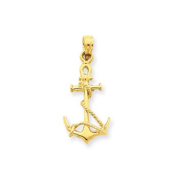 14k Yellow Gold Anchor with Shackle and Entwined Rope Pendant