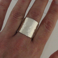 Wide Band Cigar Ring Champagne Bubbles Sterling Silver Hammered or Smooth