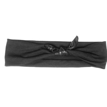 Faux Leather Knot Headband Black Jersey Hairband