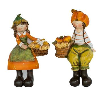 Home Decor Pastoral Creative Pumpkin Resin Figurines Fairy Garden Farmer Home Ornaments Study Decor Desk Miniature Crafts Gifts