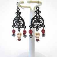 Sugar Skull Earrings Day Of The Dead Jewelry Chandelier Black Red White