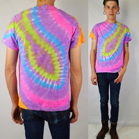 Tie Dye Shirt Psychedelic Hippie Neon Soft Grunge Trippy Seapunk Small Unisex Mens Clothing Womens Handmade Tie Dye Funky Bright Crazy