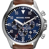 Men's Michael Kors 'Gage' Chronograph Leather Strap Watch, 45mm - Brown/ Blue