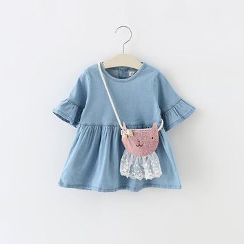 new arrived 2016 summer denim baby girls dress fashion infants baby clothes girl party dress for newborn girl dresses vestido