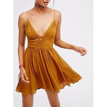 Ginger Plunge V-neck Lace Up Back Spaghetti Strap Mini Dress