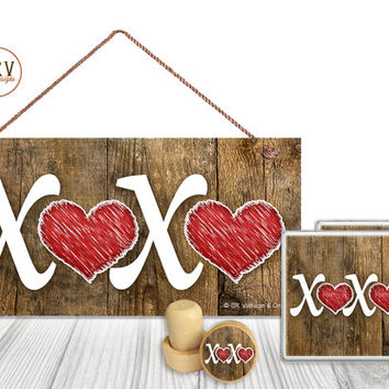 "Gift Set, 4 PC, XOXO Valentine's Gift Set, 5"" x 10"" Wood Sign, Two Drink Coasters, One Decorative Wine Stopper, Gift Package, Made To Order"