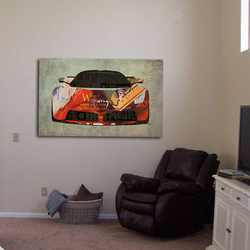 Ferrari And The 20 Cents collage, Art Print 12x7.50in to 60x41in, Cars Art print, big size print, large wall print, office decor