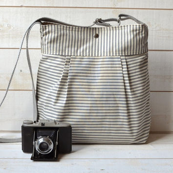 WATER PROOF Diaper bag Gray Nautical  striped bag, purse  Pleated French Messenger  bag - 10 Pockets  / Made to order