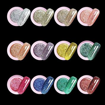 12 Color Flash powder Glitter UV Nail Gel Acrylic Polish styling nail tools makeup gel nails polish nail art M670