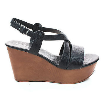 Becca09 Black Pu By Bamboo, Criss Cross Cut Out Ankle strap Open Toe Platform Wedge Sandal