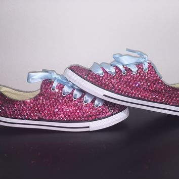 """Dainty All Star Converse """"Pretty In pink"""" With Double Fuchsia Pink Crystals & Baby Blue Laces"""
