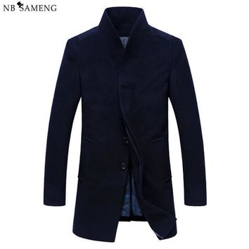 Winter Wool Coat Men Long Sections Thick Woolen Coats Mens Casual Fashion Jacket Casaco Masculino Palto Peacoat Overcoat 13W0283