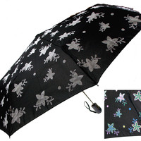 "Color Changing Umbrella 42"" Rain Stoppers Black Floral Flowers Auto Open Close"