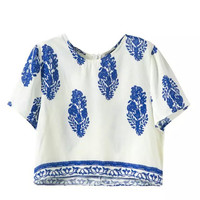 Women's Fashion Cotton Print Round-neck Short Sleeve Tops Slim Casual Shorts Set [4917799172]