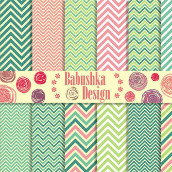 Chevron - Shades of green and pink - Set of 14 Digital Scrapbook Paper - 12 x 12 inches