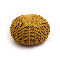 Mustard knitted pouf ottoman, pouffe, floor cushion // small