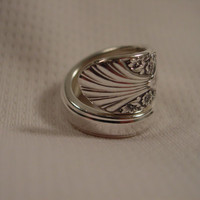 A Spoon rings Plus Size 3 1/4 Spoon Ring Radiance Pattern Vintage Silverware Jewelry t219