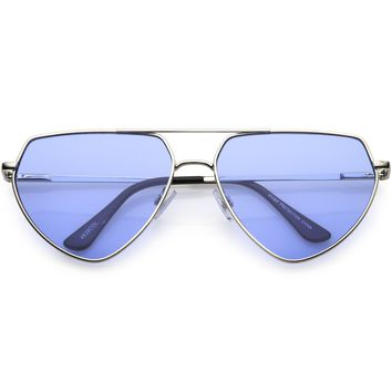 Retro Oversize Color Tone Flat Top Aviator Sunglasses C755