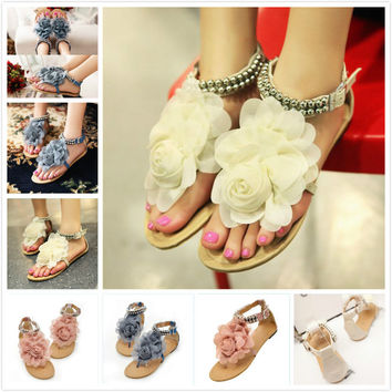 FGGS Hot Gladiator Sandals for Women Bohemia Beaded Summer Flower Flat Heels Flip Flops Women's Shoes Tstraps Sandals