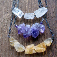 Rough Gemstone Necklace Sterling Silver Bohemian Jewelry