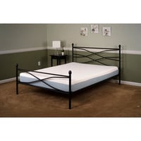 Full size Black Metal Platform Bed Frame with Headboard and Footboard