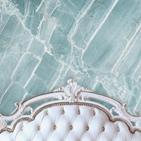White Bed Tufted Headboard With Blue Quartz Stone Wall Printed Backdrop - 6204