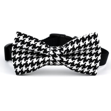 Dog Bow Tie in Black/White Houndstooth