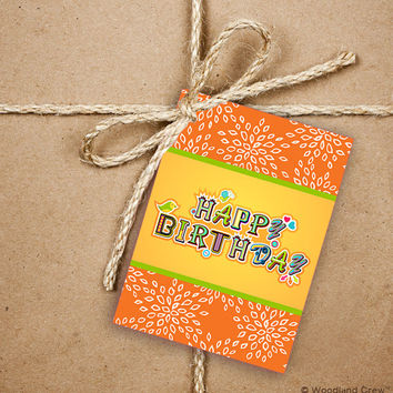 9 Happy Birthday Gift Tags, Orange and Yellow Birthday Greetings 2.5 x 3.5 Hang Tag, Product Tag With Jute Twine, Style 5
