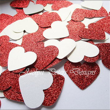 Valentines Day Party Confetti, Table Decoration, Large Hearts, Red Glitter and White Shimmer, Die Cuts, Dessert Bar Supply, 100 Pieces