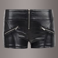 Black Faux Leather Zipper Front Hot Pants