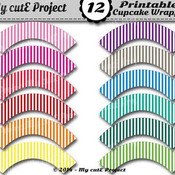 STRIPES Cupcake Wrappers Rainbow - Instant Download - Flag pennant